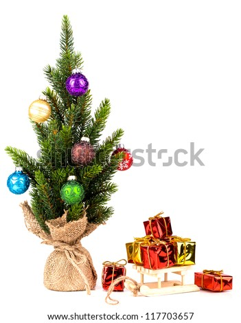 Christmas tree on white background whit ball - stock photo