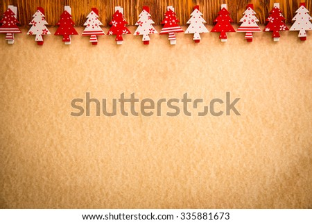Christmas tree ornament on vintage paper card blank. Xmas holiday concept - stock photo