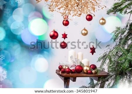Christmas tree ornaments on Christmas background - stock photo