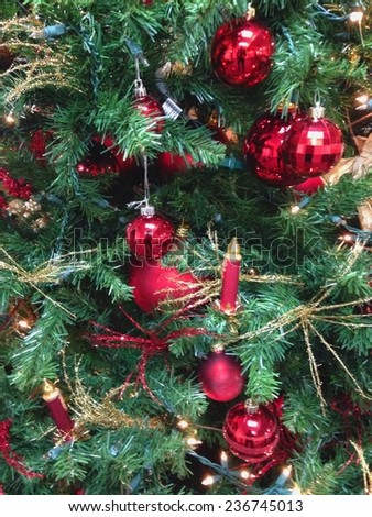 Christmas Tree Ornaments on Christmas Tree Closeup - stock photo