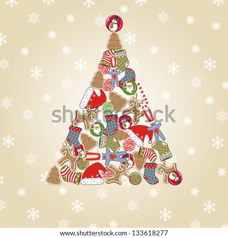 Christmas tree. Raster version, vector file available in portfolio. - stock photo