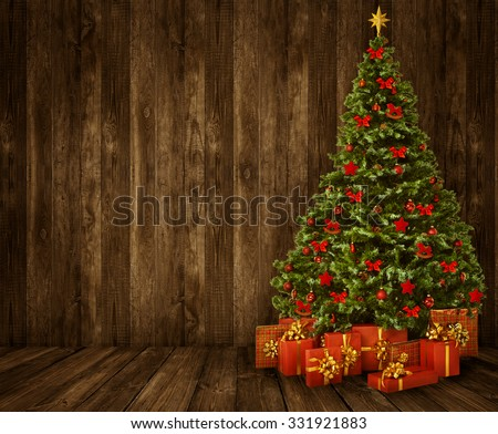 Christmas Tree Room Background, Wood Wall Floor Interior, Wooden Brown Planks Texture - stock photo