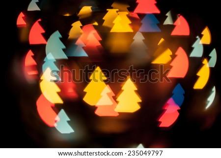 Christmas Tree Shape Bokeh Lights Background - stock photo