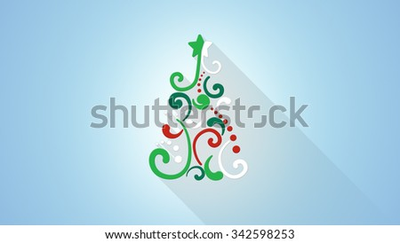christmas tree shape flat style illustration with long shadows  - stock photo