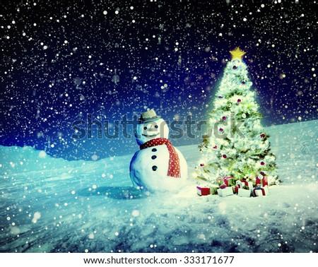 Christmas Tree Snowman Outdoor Concept - stock photo