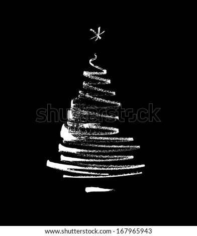 christmas tree, stylized, simplified, reduced to a few freehand, black and white matte  - stock photo