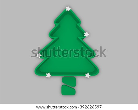 Christmas tree tray with trunk and shining white stars on grey stripe background - stock photo