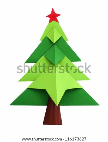 Christmas tree white isolated origami - stock photo