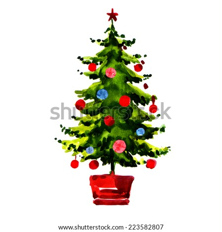Christmas tree with balls isolated - stock photo