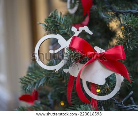 Christmas tree with bike decoration - stock photo