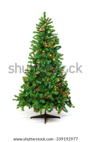 Christmas tree with colorful lights isolated on white - stock photo