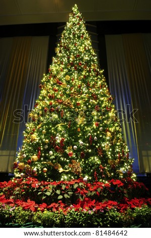 Christmas tree with decoration - stock photo
