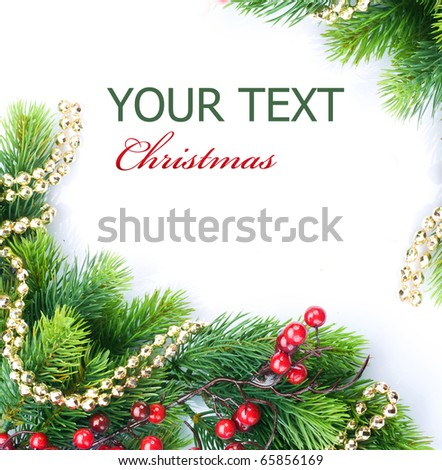 Christmas Tree with Decoration.Border design - stock photo