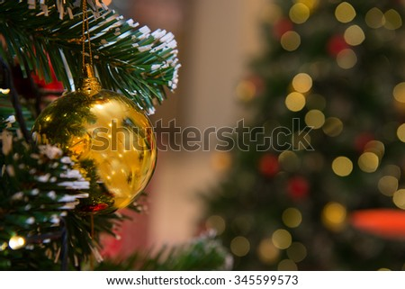 Christmas tree with decoration, detail Christmas tree with bokeh - stock photo