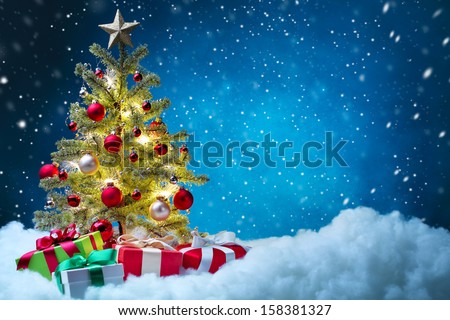 Christmas tree with decorations,Christmas concept. - stock photo