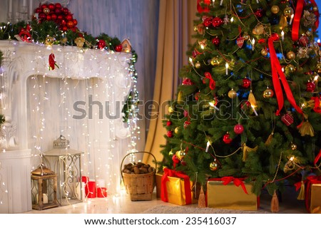 Christmas tree with fireplace, Christmas holiday and New Year. - stock photo
