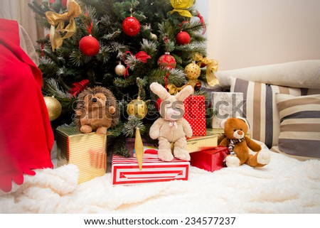 Christmas Tree with Gifts and toys, Xmas concept - stock photo