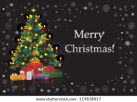Christmas Tree with Gifts isolated on black Raster version, vector file id:119266954 - stock photo