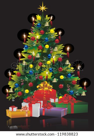 Christmas Tree with Gifts isolated on black Raster version, vector file id: 119264161 - stock photo