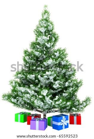 Christmas tree with gifts isolated over white background - stock photo