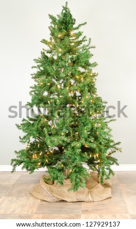 Christmas tree with lights waiting for decoration - stock photo