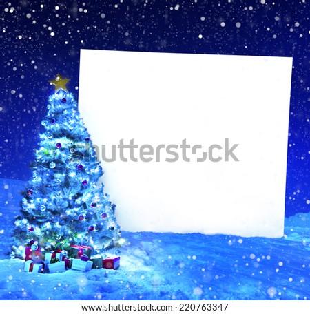 Christmas tree with placard - stock photo