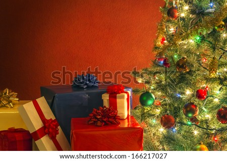 Christmas tree with presents - stock photo