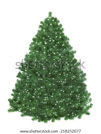 Christmas tree with star lights - stock photo