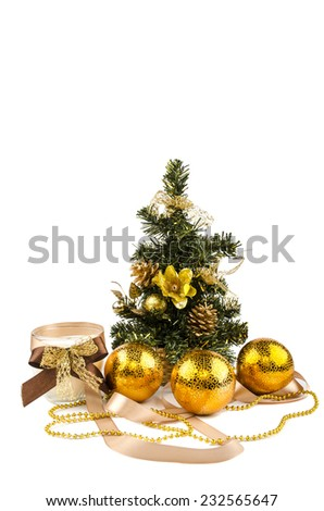Christmas tree with toys and candles - stock photo
