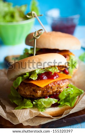 Christmas Turkey Burgers With Cranberry Sauce - stock photo