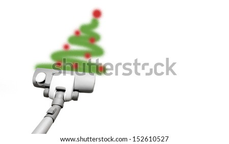 Christmas vacuuming - stock photo