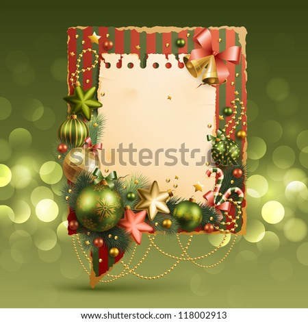 Christmas vintage bubble with baubles and place for text. Check my portfolio for vector version. - stock photo