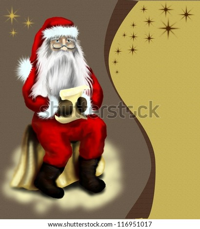 Christmas vintage card with starr or background with Santa Claus who read a letter from the children - stock photo