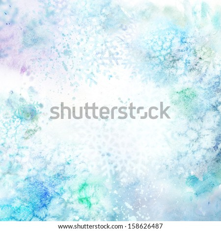 Christmas watercolor background - stock photo