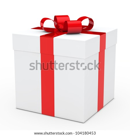 christmas white gift box with red ribbon - stock photo