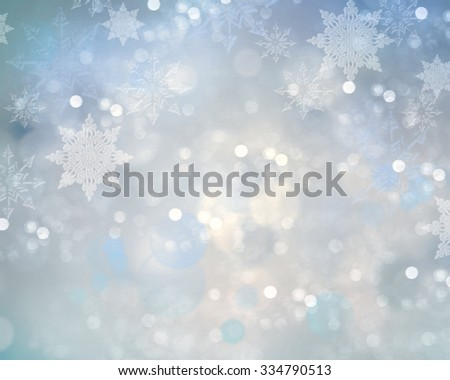 Christmas winter blue blur background.Snowflake holiday bokeh. - stock photo