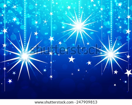 Christmas Winter Holiday Abstract Background With Lights and Stars, Bootom Copyspace   - stock photo