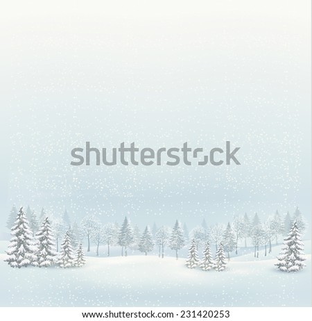 Christmas winter landscape background.  - stock photo