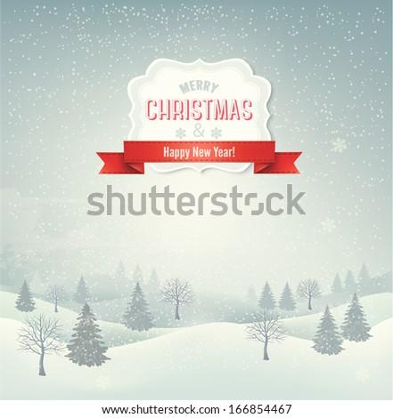Christmas winter landscape background. Raster version  - stock photo