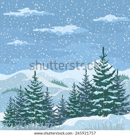 Christmas Winter Mountain Landscape with Firs Trees, Sky with Snow and Clouds - stock photo