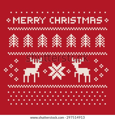 christmas winter pattern print for jersey or t-shirt. Pixel deers and christmas trees on the red background - stock photo