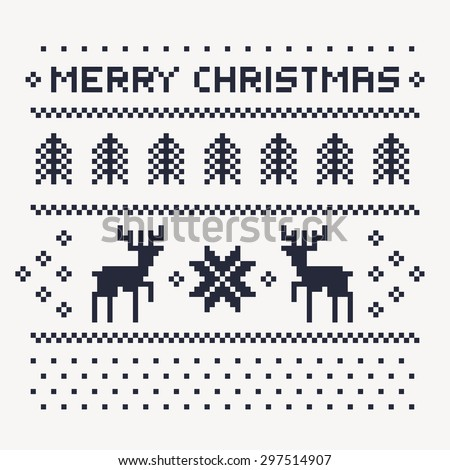 christmas winter pattern print for jersey or t-shirt. Pixel deers and christmas trees on the white background - stock photo