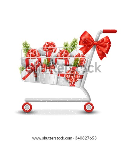 Christmas Winter Sale Shopping Cart with White Gift Boxes and Pine Branches Isolated on White Background - stock photo