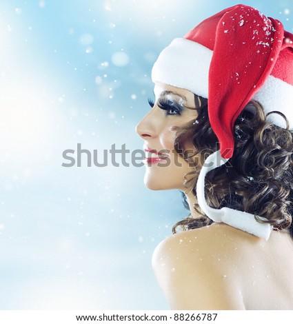Christmas Woman - stock photo