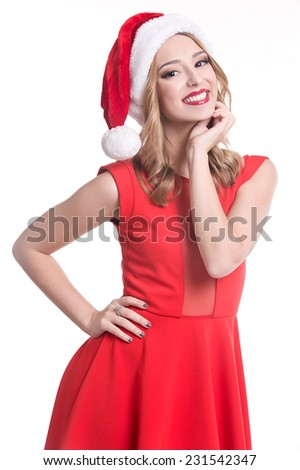 Christmas Woman with clock. Beautiful  Girl in Santa Hat isolated.  - stock photo