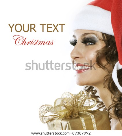 Christmas Woman with Gift box.Isolated on white - stock photo