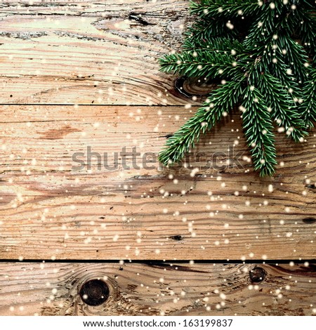 Christmas wooden background - stock photo