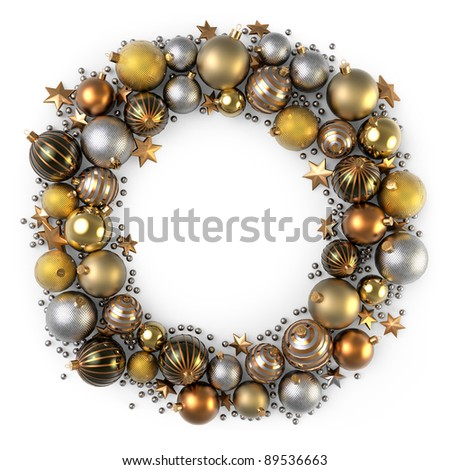 Christmas wreath decoration from color bubbles - stock photo