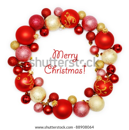 Christmas wreath decoration from red and golden color baubles on white background - stock photo