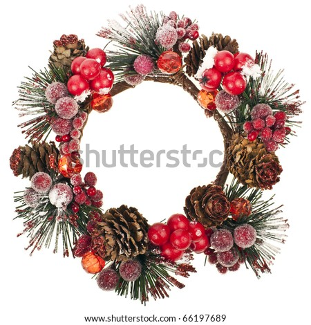 Christmas wreath decoration  isolated on white - stock photo